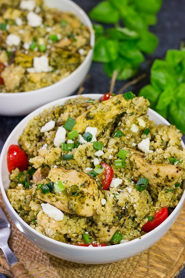 This Pesto Chicken Quinoa is an easy recipe that really highlights all of the fresh flavors of summer! Enjoy!