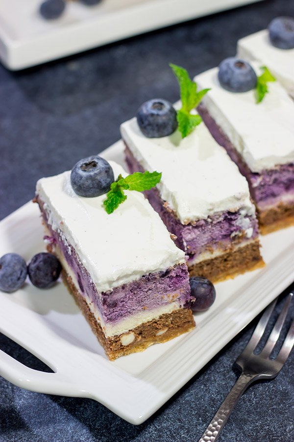 Featuring 3 different layers of cheesecake, this Blueberry Chocolate Cheesecake is a fun dessert to make for friends and family!