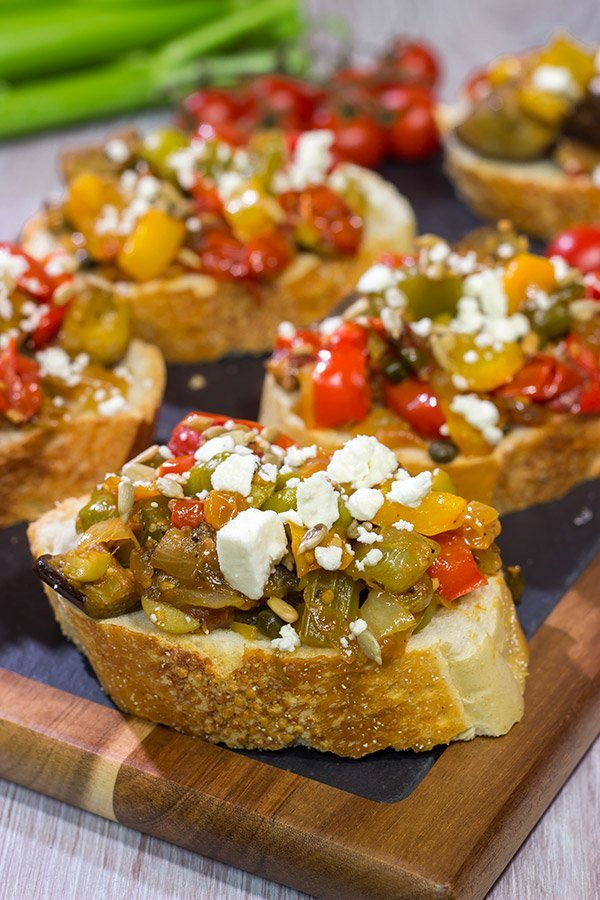 Caponata is a tasty and colorful summer recipe. Serve it as an appetizer with toasted bread or as a side dish alongside grilled fish or chicken!