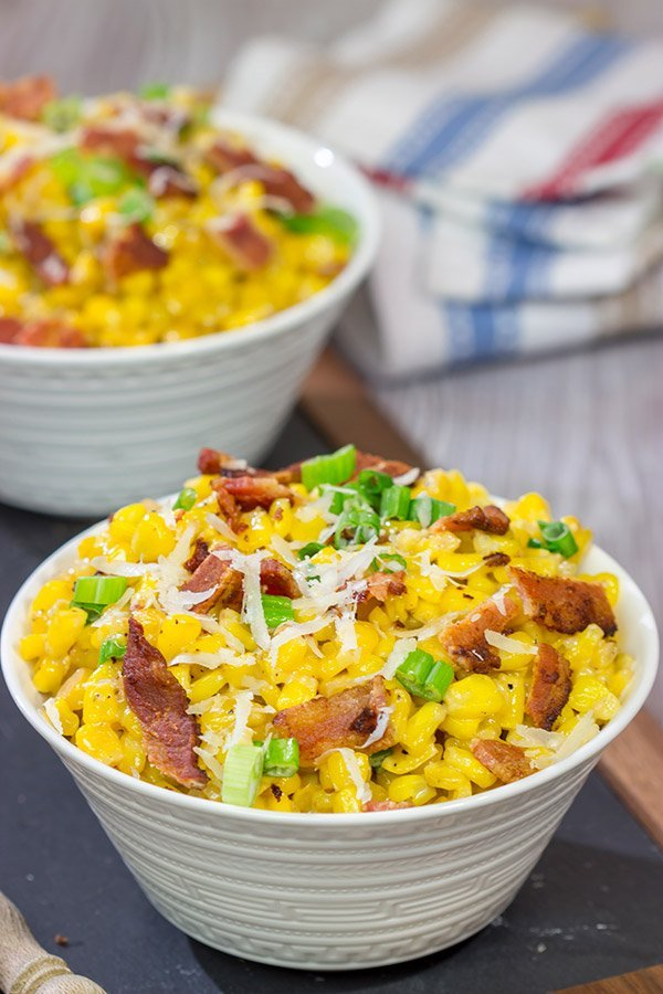 Fresh summer corn.  Crispy bacon.  Parmesan cheese.  This Creamed Corn with Bacon is a delicious side dish for summer grilling!