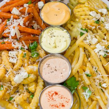 Looking for a fun appetizer for watching sports or hosting a game night? A French Fry Board is the answer! Lots of fries, lots of sauces, lots of fun!
