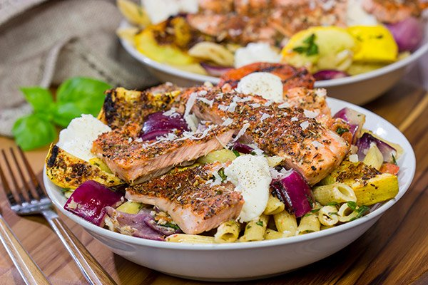 Packed with big flavors, this Grilled Blackened Salmon Pasta is a tasty way to enjoy summer grilling season!