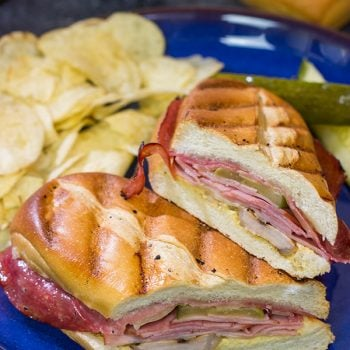 Packed with 3 types of meat, cheese and pickles, these Grilled Cuban Sandwiches are a delicious way to mix up dinner on the grill!