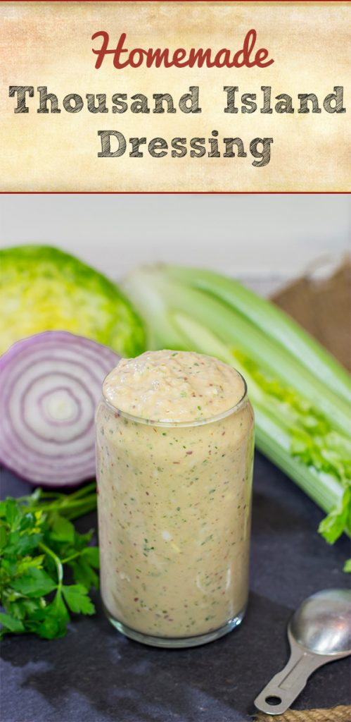 """Whether used as a salad dressing or a """"secret burger sauce,"""" this homemade version of Thousand Island Dressing is delicious and super easy to make!"""