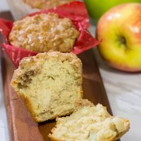 These Cinnamon Apple Muffins are loaded with apples and cinnamon...and topped with a delicious crunchy cinnamon streusel! They're perfect for chilly Autumn mornings!