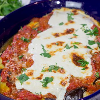 Eggplant Involtini is a classic Italian recipe. This version features a lemon herb ricotta filling rolled up inside of slices of roasted eggplant. It's delicious!