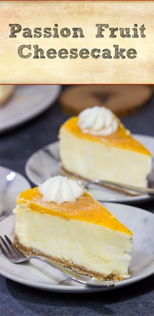 This Passion Fruit Cheesecake is packed with tropical flavors! It's the perfect dessert for a warm summer evening. Cheers!
