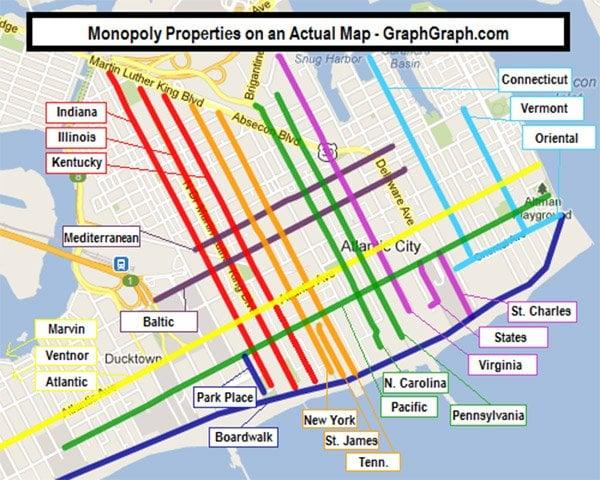 Monopoly map Atlantic City