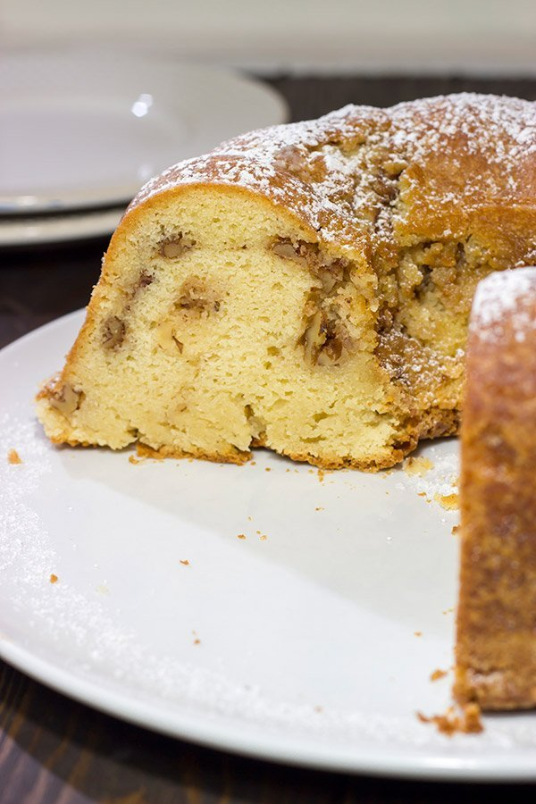 This Sour Cream Pound Cake with Cinnamon Walnut Swirl is a tasty (and easy) recipe that can be served for dessert or breakfast...or both!