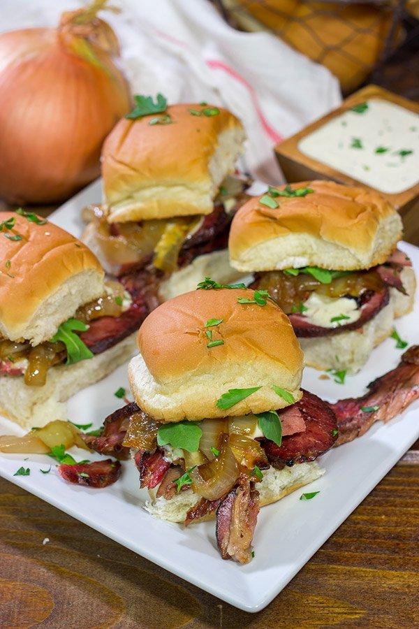 These Beef Brisket Sliders with Alabama White BBQ Sauce are proof that good things can come in small packages! Make a batch of these sliders for dinner tonight!