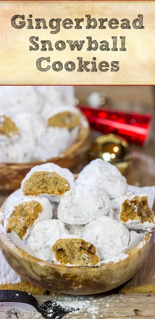 These Gingerbread Snowball Cookies are what happens when you throw snowballs at gingerbread cookies.  They're a delicious combination of two favorite holiday cookies!