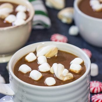 This Slow Cooker Hot Chocolate is a great recipe for holiday gatherings.  Plus, you can create a Hot Chocolate Bar and let friends/family make their own mugs!