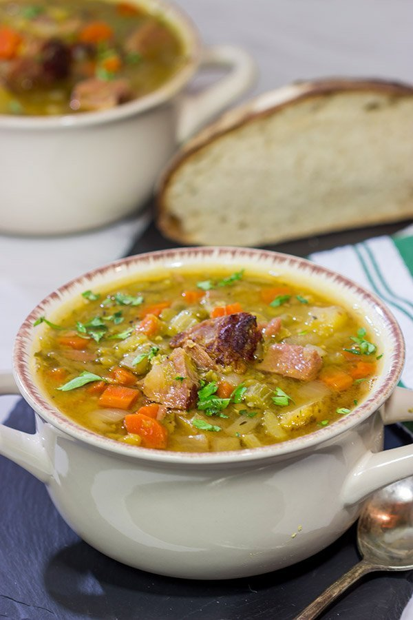 This Slow Cooker Split Pea Soup is an easy and delicious recipe.  It's packed with flavor, and it's perfect for warming up on a chilly day!