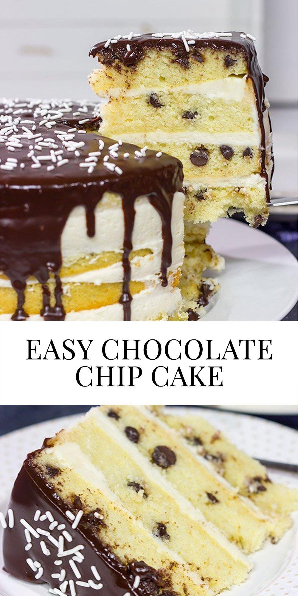 chocolate chip cake with chocolate glaze