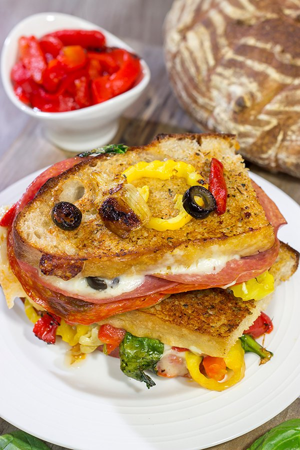 Packed with a variety of Italian meats and cheeses, this Antipasta Grilled Cheese is like a delicious appetizer platter...just in a cheesy, sandwich form!