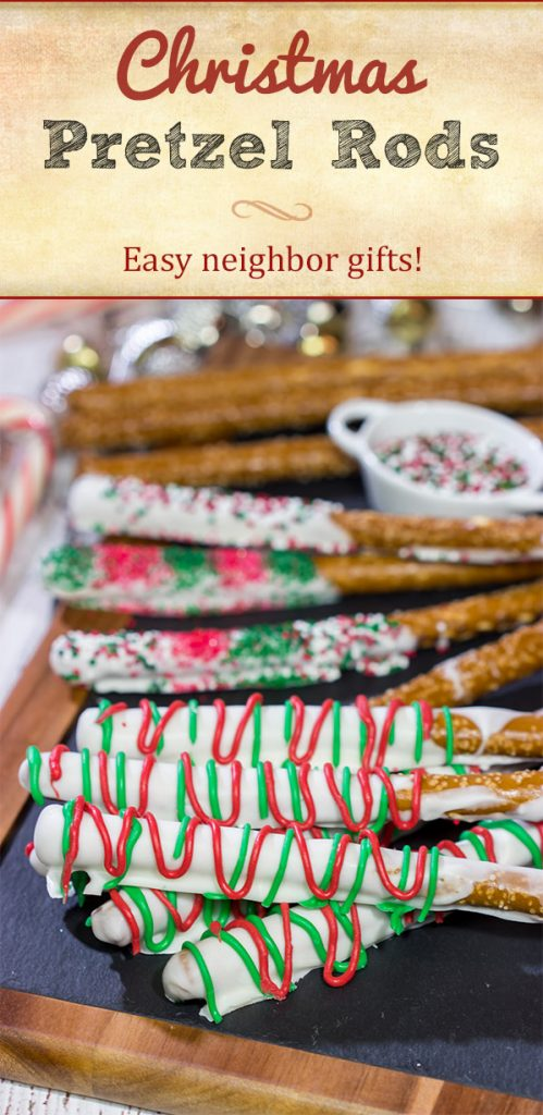 These Christmas Pretzel Rods are a festive and easy snack or dessert for the holidays! They're fun for little kids, and they also make great neighbor and teacher gifts!