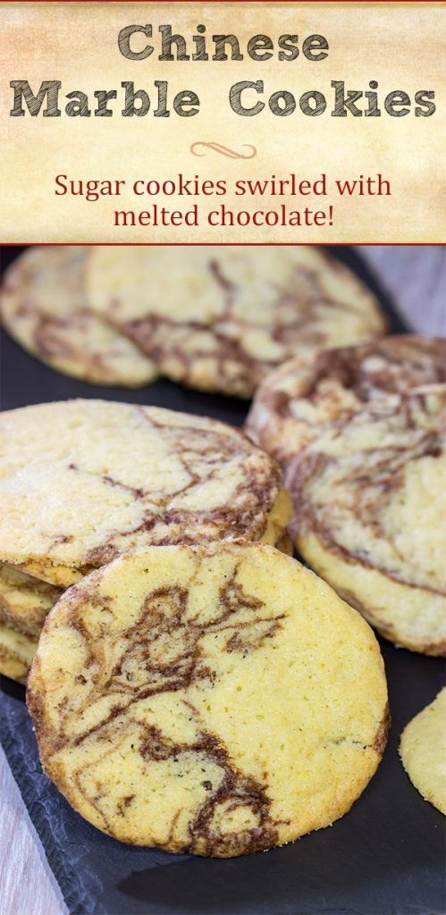 Swirled with a bit of melted chocolate, these Chinese Marble Cookies are a fun twist on a classic sugar cookie!