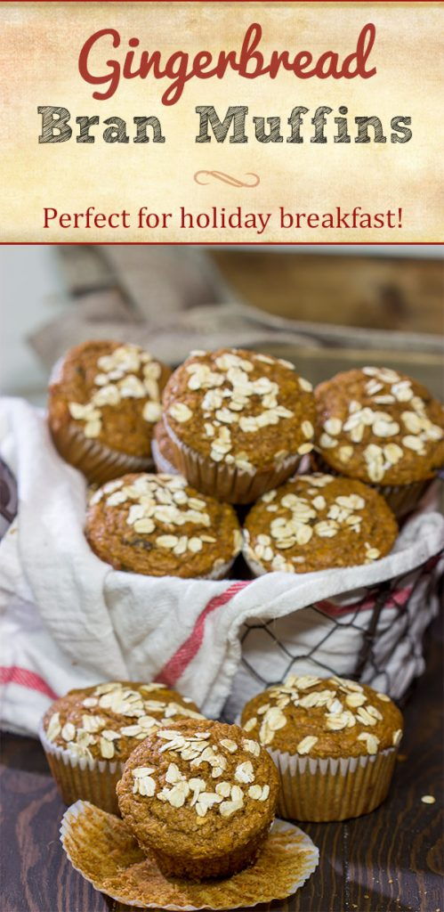 These Gingerbread Bran Muffins are packed with cinnamon, spice and everything nice!  A batch of these muffins is perfect for holiday breakfast!