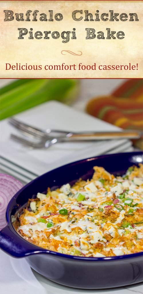 Using frozen pierogies as the base, this Buffalo Chicken Pierogi Bake is a delicious comfort food casserole...and it can be made on a weeknight, too!
