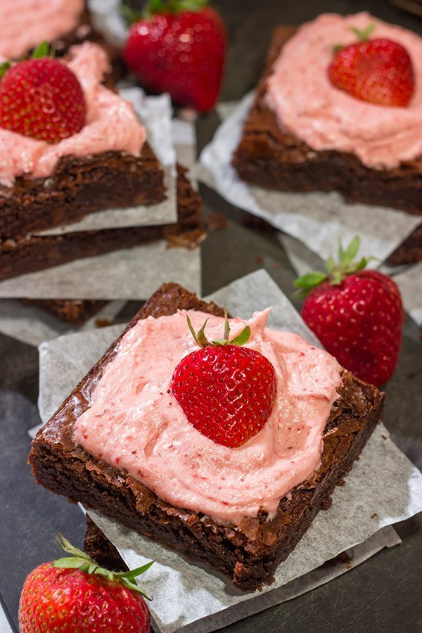 Do you like chocolate-covered strawberries? Then you'll love these Chocolate Brownies with Strawberry Buttercream!