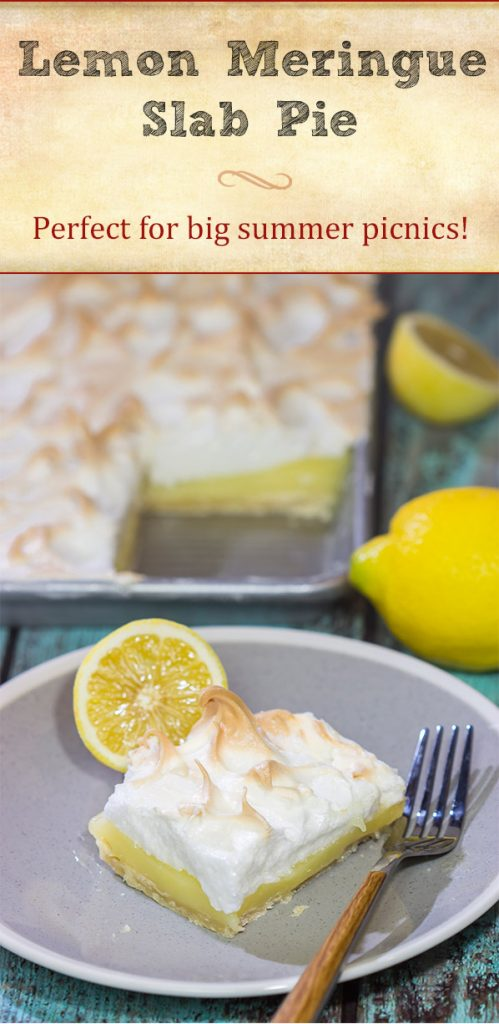 Looking to feed a bunch of folks for a summer picnic? Then put this Lemon Meringue Slab Pie on the menu! It's a lot of pie...in the best way possible!