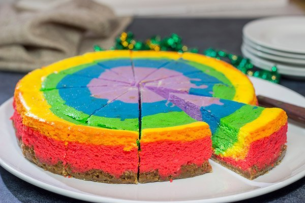 Forget looking for that elusive pot of gold...go for the sure thing! Grab a slice of this delicious Rainbow Cheesecake, and celebrate St. Patrick's Day in style!