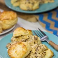 Homemade Buttermilk Biscuits and Sausage Gravy are an iconic Southern comfort food. Whip up a batch for brunch this weekend!
