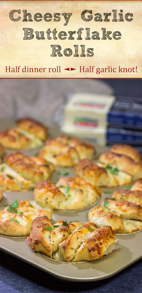 Half pull-apart roll, half garlic knot, these Cheesy Garlic Butterflake Rolls are a fun and delicious way to add flavor to the dinner table. Bake up a batch today!