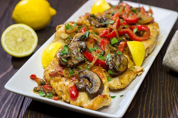 Chicken Scallopini might sound fancy, but it's actually an easy recipe.  Think thinly-sliced chicken sauteed with onions, peppers and mushrooms and then tossed in a white wine lemon sauce.  It's delicious!