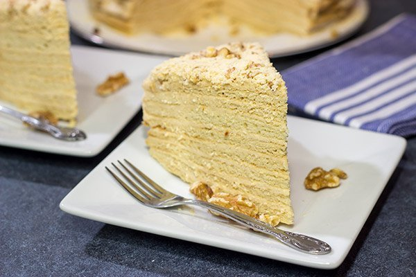 Medovik, also known as Czech Honey Cake, is a popular (and delicious) sweet treat. There are 15 layers of goodness on this dessert...take a bite today!