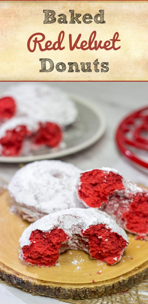 These Red Velvet Donuts are a fun way to put a festive spin on the classic baked powdered sugar donuts.  Bake up a batch for Valentine's Day!