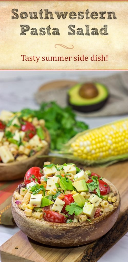 Packed with corn, beans, green chile and peppers, this Southwestern Pasta Salad packs quite a flavorful punch. It's a great summer side dish!