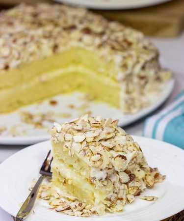 Looking for a unique cake idea?  This Burnt Almond Torte is filled with vanilla pastry cream...oh yeah, and it's smothered in sugared almonds.  Talk about a delicious sweet treat!