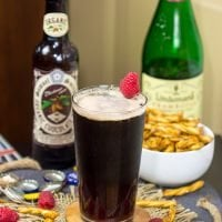 Have you ever tried layering beers? This Chocolate Raspberry Stoutis a fun combination of flavors! It starts with raspberry taste at first, but finishes with chocolate. Cheers!