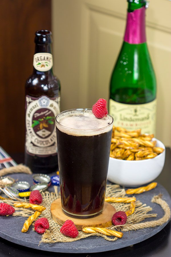 Have you ever tried layering beers?  This Chocolate Raspberry Stout is a fun combination of flavors!  It starts with raspberry taste at first, but finishes with chocolate.  Cheers!