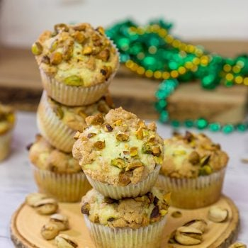 These tasty Pistachio Muffins are packed with chopped pistachios...but don't forget about the brown sugar streusel on top!