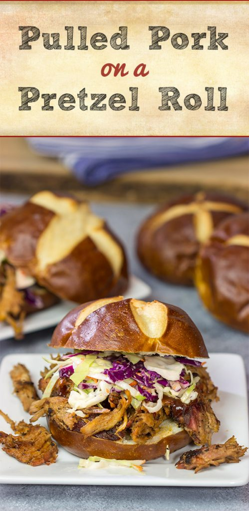 Looking for a fun way to serve pulled pork? Grab (or make) pretzel rolls and serve up this Pulled Pork on a Pretzel Roll!
