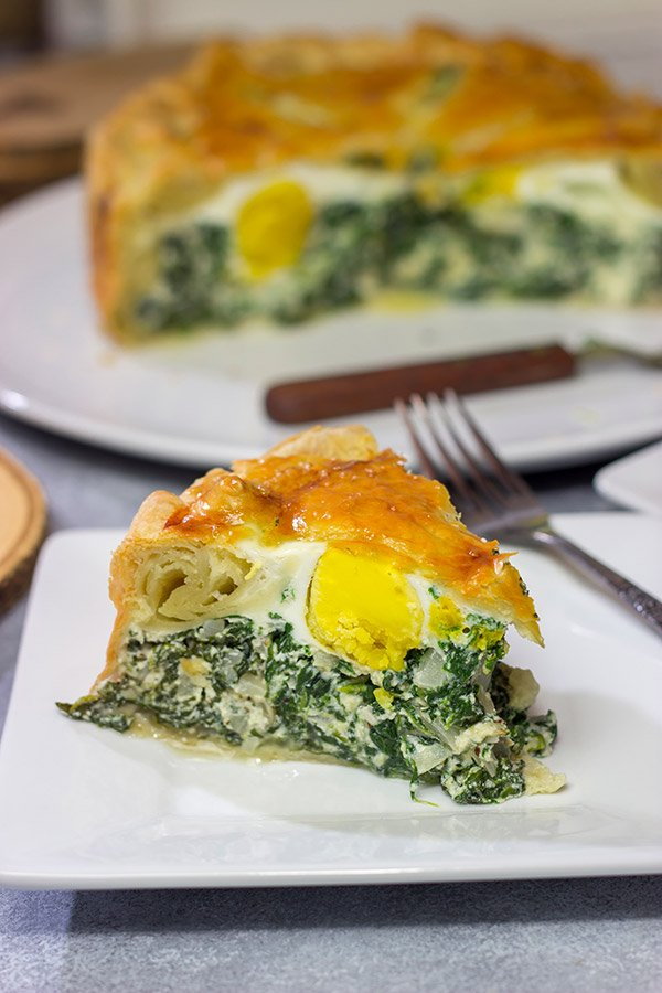 Torta Pasqualina is a traditional Italian recipe served at Easter.  This delicious pie features a puff pastry crust stuffed with spinach, ricotta and eggs - yum!