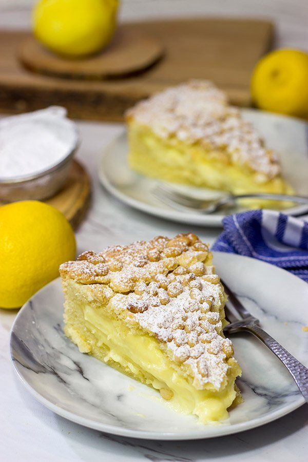 Topped with pine nuts and a dusting of powdered sugar, the Torta della Nonna features a lemon vanilla custard inside of a cookie-like crust. It's delicious!
