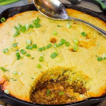 Chili and cornbread are classic companions, but who says they need to be separate?  Combine the two together in this one-pot Chili Cornbread Casserole!