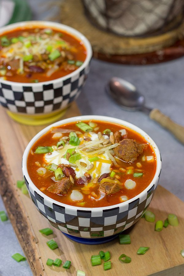 This flavorful Ribeye Chili is packed with smoky, beefy flavor. It's a great way to warm the belly on a cold winter day!