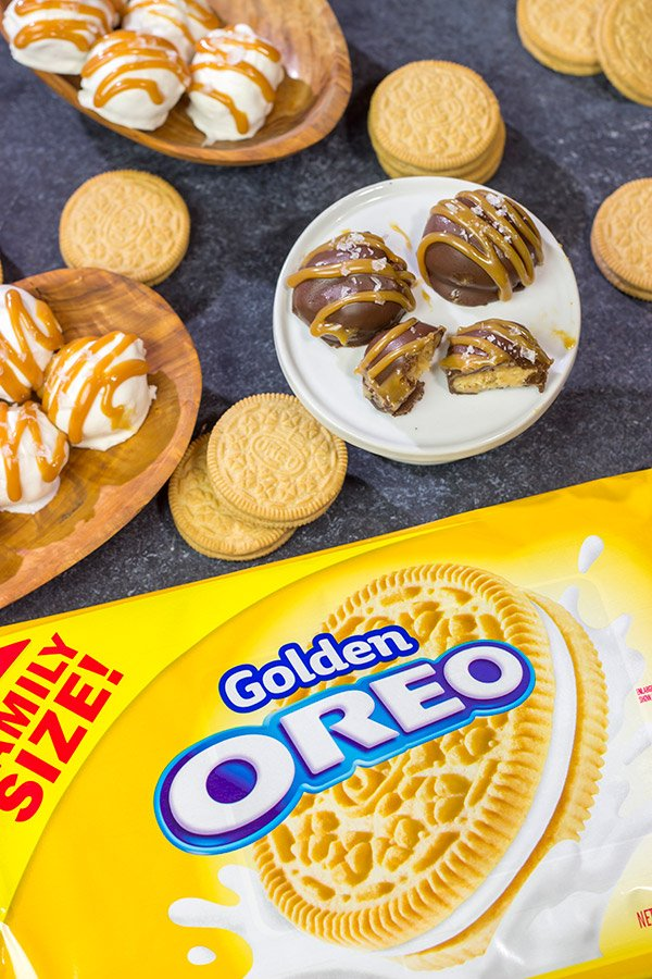 Looking for a fun spin on a classic snack?  Whip up a batch of these Salted Caramel OREO Cookie Balls!