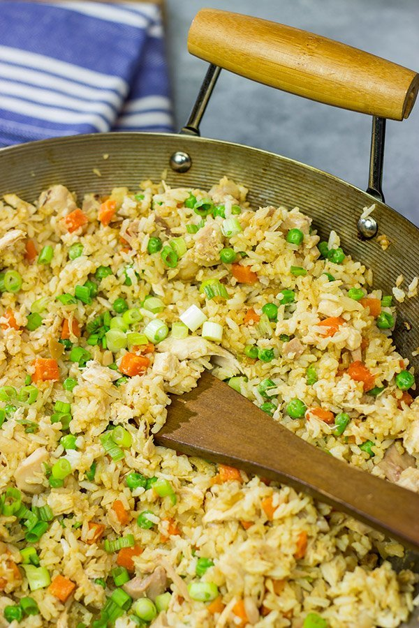 Making the rice in advance and using a rotisserie chicken makes this Easy Chicken Fried Rice a meal that comes together in just 10 minutes...yup, 10 minutes!