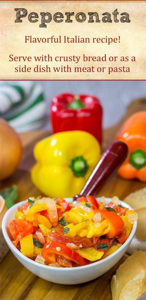 Peperonata is a classic Italian recipe using slow-cooked bell peppers, tomatoes and onions. Eat it on crusty bread or mixed into pasta!