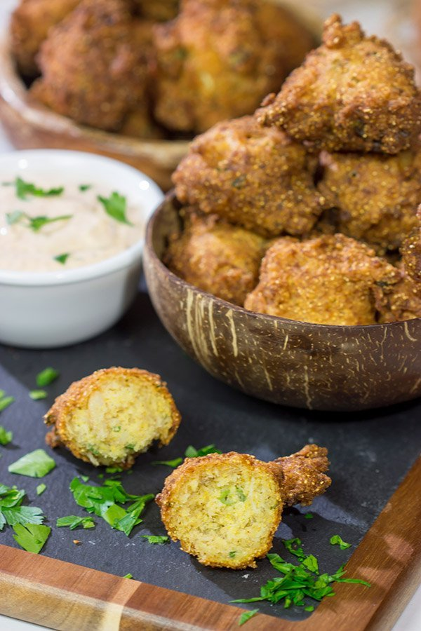 Take your fried food game to a whole new level! These Crab Cake Hushpuppies combine two favorites into one.