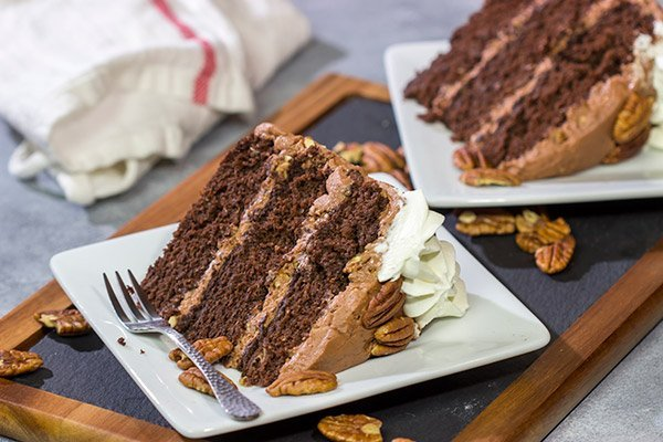 Forget the pie! This Mississippi Mud Cake is a fun twist on the classic Mississippi Mud Pie. This chocolate cake with chocolate-pecan frosting is one heck of a tasty treat!