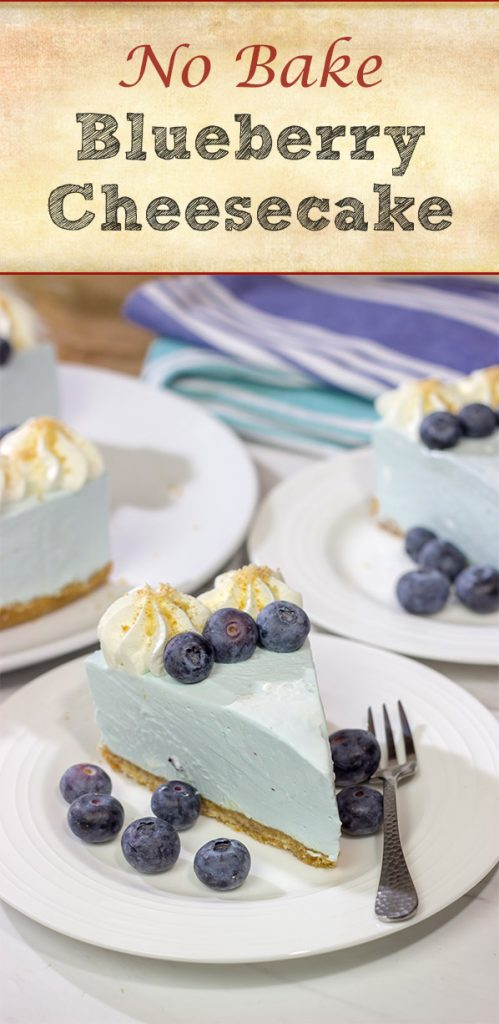 Featuring a creamy cheesecake on top of a vanilla wafer crust, this No Bake Blueberry Cheesecake is perfect for hot summer days!