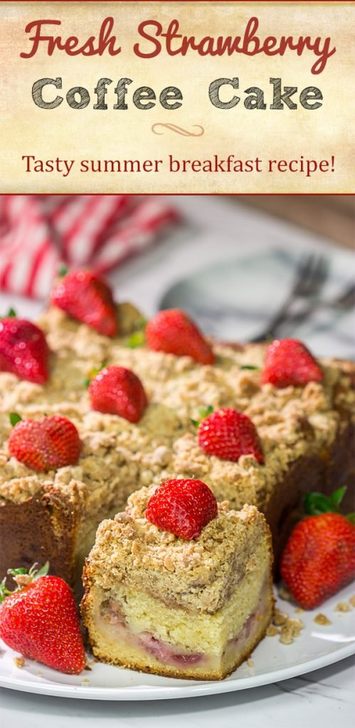 Embrace summer berry season with this Fresh Strawberry Coffee Cake! This cake is packed with juicy strawberries and topped with a cinnamon-brown sugar crumble. Happy baking!