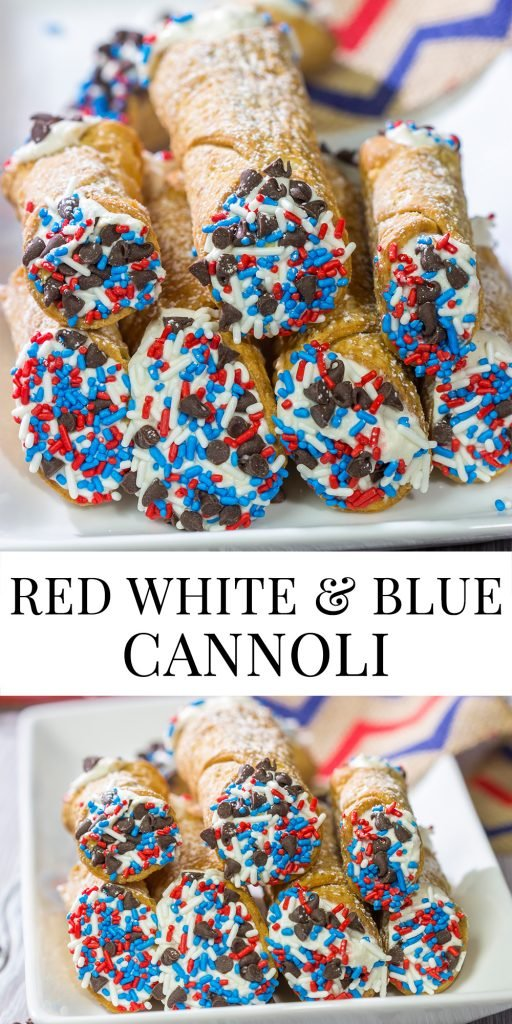 These Red White and Blue Cannoli make for a festive and tasty 4th of July dessert! (Hint: Using store-bought cannoli shells makes this recipe super easy!)