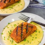 Cajun Grilled Salmon with Cheesy Jalapeno Grits
